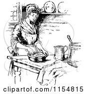Clipart Of A Retro Vintage Black And White Woman Cooking In A Kitchen Royalty Free Vector Clipart by Prawny Vintage