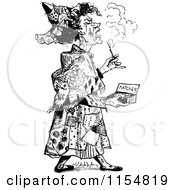 Clipart Of A Retro Vintage Black And White Woman With Matches Royalty Free Vector Clipart