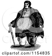 Clipart Of A Retro Vintage Black And White Obese Man With A Cane Royalty Free Vector Clipart