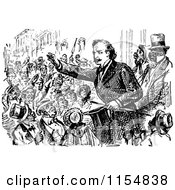 Clipart Of A Retro Vintage Black And White Politician And Crowd Royalty Free Vector Clipart