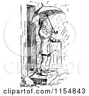 Clipart Of A Retro Vintage Black And White Man Stepping Into The Rain With An Umbrella Royalty Free Vector Clipart by Prawny Vintage