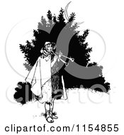Clipart Of A Retro Vintage Black And White Man With Horns Royalty Free Vector Clipart
