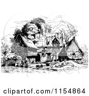 Clipart Of A Retro Vintage Black And White Village Royalty Free Vector Clipart by Prawny Vintage