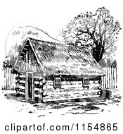 Clipart Of A Retro Vintage Black And White Log Cabin Royalty Free Vector Clipart by Prawny Vintage