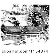 Clipart Of Retro Vintage Black And White Boys In A Canoe Royalty Free Vector Clipart