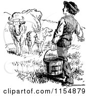 Clipart Of A Retro Vintage Black And White Farmer Carrying A Bucket Towards Cows Royalty Free Vector Clipart by Prawny Vintage