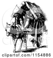 Clipart Of A Retro Vintage Black And White Man And Horse Drawn Cart Royalty Free Vector Clipart