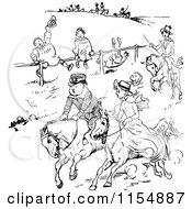 Clipart Of A Retro Vintage Black And White Horse Race Royalty Free Vector Clipart by Prawny Vintage