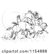 Clipart Of Retro Vintage Black And White Horse Riders Royalty Free Vector Clipart by Prawny Vintage