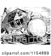 Clipart Of A Retro Vintage Black And White Giant Snowball Hitting A House Royalty Free Vector Clipart