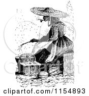 Clipart Of A Retro Vintage Black And White Woman Smoking A Pipe And Sitting By Baskets Royalty Free Vector Clipart
