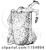 Clipart Of A Retro Vintage Black And White Boy Digging In A Laundry Basket Royalty Free Vector Clipart by Prawny Vintage