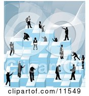 Businessmen Working Together As A Team To Stack Blue Building Blocks Of Success Clipart Illustration