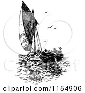 Clipart Of A Retro Vintage Black And White Sailboat With Passengers Royalty Free Vector Clipart
