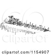 Clipart Of A Retro Vintage Black And White Row Of Shoes Royalty Free Vector Clipart by Prawny Vintage