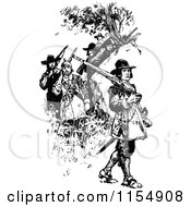 Clipart Of Retro Vintage Black And White Soldiers Royalty Free Vector Clipart by Prawny Vintage