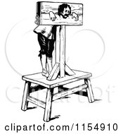 Clipart Of A Retro Vintage Black And White Man In Stocks Royalty Free Vector Clipart