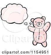 Cartoon Of A Thinking Pink Teddy Bear Royalty Free Vector Illustration