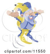 Old Joker Or Jester Man Jumping Clipart Illustration by AtStockIllustration