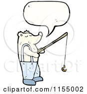 Cartoon Of A Talking Polar Bear Fishing Royalty Free Vector Illustration by lineartestpilot