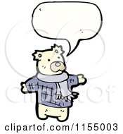 Cartoon Of A Talking Polar Bear Wearing A Scarf Royalty Free Vector Illustration