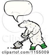 Cartoon Of A Talking Polar Bear Digging Royalty Free Vector Illustration by lineartestpilot