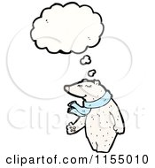 Cartoon Of A Thinking Polar Bear Wearing A Scarf Royalty Free Vector Illustration