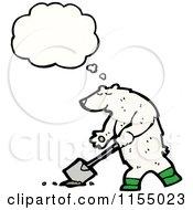 Cartoon Of A Thinking Polar Bear Digging Royalty Free Vector Illustration by lineartestpilot