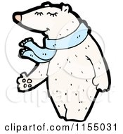 Cartoon Of A Polar Bear Wearing A Scarf Royalty Free Vector Illustration by lineartestpilot