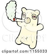 Cartoon Of A Polar Bear Smoking A Joint Royalty Free Vector Illustration