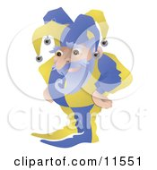 Old Joker Or Jester Man Standing With His Hands On His Hips Clipart Illustration by AtStockIllustration