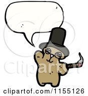 Cartoon Of A Talking Bear With A Top Hat And Cigar Royalty Free Vector Illustration