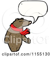 Cartoon Of A Talking Bear Wearing A Scarf Royalty Free Vector Illustration