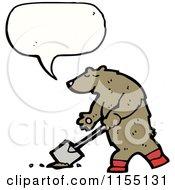 Cartoon Of A Talking Bear Digging Royalty Free Vector Illustration by lineartestpilot