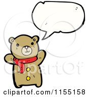 Cartoon Of A Talking Bear In A Scarf Royalty Free Vector Illustration