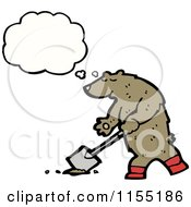 Cartoon Of A Thinking Digging Bear Royalty Free Vector Illustration by lineartestpilot