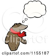 Cartoon Of A Thinking Bear In A Scarf Royalty Free Vector Illustration