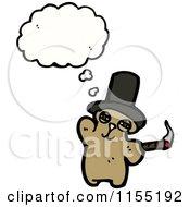 Cartoon Of A Thinking Bear Smoking A Cigar Royalty Free Vector Illustration