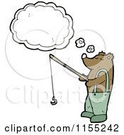 Cartoon Of A Thinking Fishing Bear Royalty Free Vector Illustration by lineartestpilot