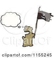 Cartoon Of A Thinking Bear With A Pirate Flag Royalty Free Vector Illustration by lineartestpilot