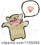 Cartoon Of A Bear Talking About Love Royalty Free Vector Illustration