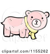 Cartoon Of A Pink Bear Wearing A Scarf Royalty Free Vector Illustration by lineartestpilot