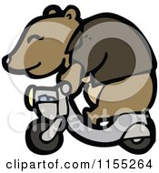 Cartoon Of A Bear On A Scooter Royalty Free Vector Illustration by lineartestpilot
