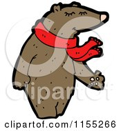 Cartoon Of A Bear Wearing A Scarf Royalty Free Vector Illustration by lineartestpilot