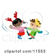 Girl Wearing Antlers Dancing With A Boy Wearing A Crown Clipart Illustration