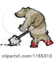 Cartoon Of A Bear Digging Royalty Free Vector Illustration by lineartestpilot