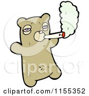 Cartoon Of A Bear Smoking Royalty Free Vector Illustration by lineartestpilot