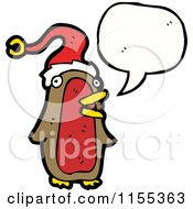 Cartoon Of A Talking Christmas Robin Royalty Free Vector Illustration