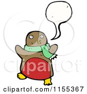 Cartoon Of A Talking Robin Wearing A Scarf Royalty Free Vector Illustration