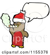 Cartoon Of A Talking Smoking Christmas Robin Royalty Free Vector Illustration